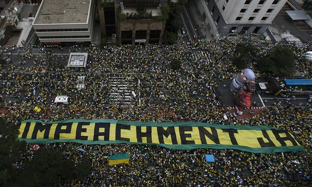 Demonstrators in support of Dilma Rousseff's impeachment