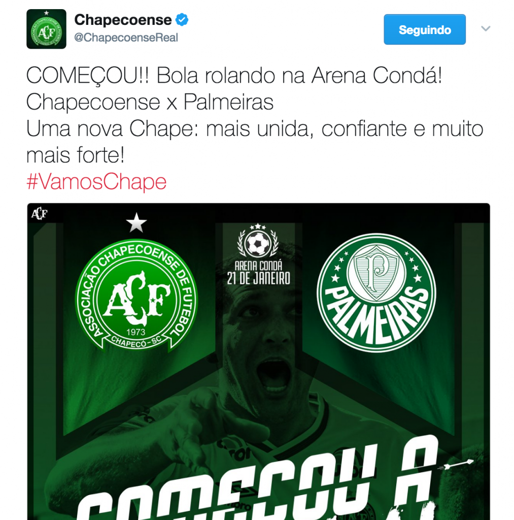 Chapecoense Twitter Account during their first game back #VamosChape