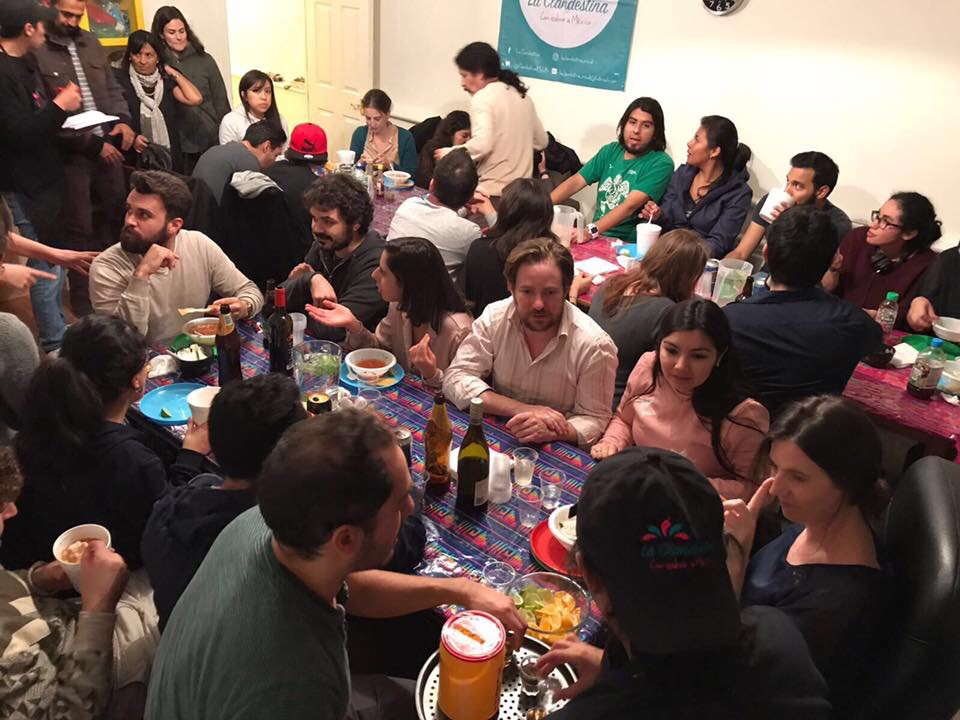 Friends and diners at La Clandestina's recent pozole night in October.