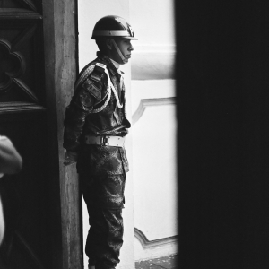 Soldier in church doorwar, Popayán. March 2017