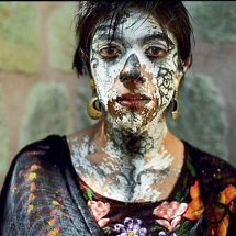Portrait of a dancer during the Day of the Dead celebrations in Oaxaca, Mexico