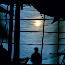 The shadow of a man during the Day of the Dead celebration in Tantoyuca, Veracruz, Mexico