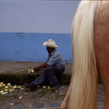A farmer making an offering in the street to St. María Magdalena during the celebration in Xico, Veracruz, Mexico